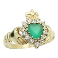9Ct Yellow Gold CZ & 0.45 Ct Emerald Irish Claddagh Ring, K