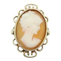 Vintage Ladies 9ct Yellow Gold Cameo Dress Ring, Size L