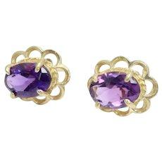 Vintage 9ct Gold 1.5 CTW Amethyst Oval Stud Filigree Earrings