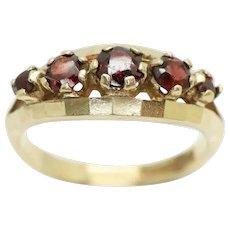 Stunning Vintage 1971 Five Stone Garnet Half Eternity Ring, Size O 1/2