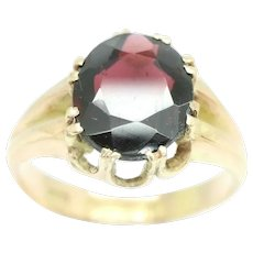 Mens 1919 Antique 9Ct Gold 3.8 Ct Garnet Gypsy Style Signet Ring, Size S