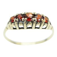 Vintage Five Stone Garnet Half Eternity Ring, Size P