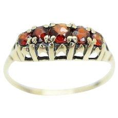 Vintage Five Stone Garnet Half Eternity Ring, Size P