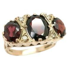 Vintage 9Ct Rose Gold 3 CTW Garnet Trilogy & Diamond Accent Boat Ring, Size R