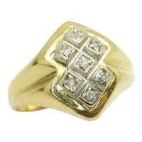 Unusual 18Ct Yellow Gold & Diamond Geometric Design Ring, Size G 1/2, 4g