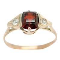 Art Deco Style 9Ct Rose Gold Garnet and White Sapphire Accent Ring, Size N