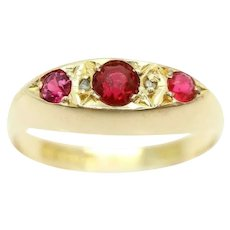 Antique 1919 18ct Gold Diamond & Garnet Boat Style Gypsy Ring, Size Q