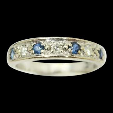 18Ct Gold Sapphire & Diamond Half Eternity Ring, Size K 1/2, 3.3g