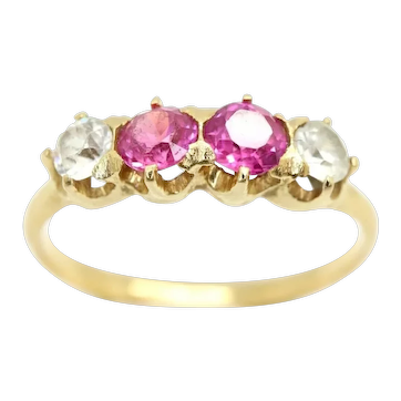 Antique 18Ct Gold Pink Sapphire & Spinel 4 Stone Half Eternity Ring, Size L 1/2