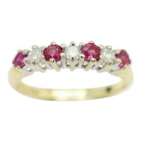Stunning 18Ct Gold Pink Ruby & Diamond Half Eternity Ring, Size J