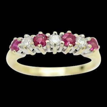 Stunning 18Ct Gold Pink Ruby & Diamond Half Eternity Ring, Size J