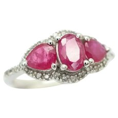 14ct White Gold Three Stone Ruby & Diamond Engagement Ring, Size N