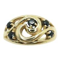 Vintage 9Ct Gold Sapphire Swirl Dress Ring, Size P 1/2