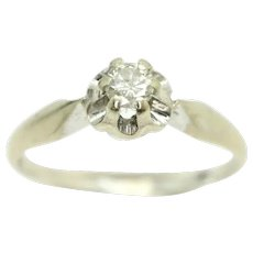 18ct White Gold 0.15 Ct Solitaire Diamond Gypsy Ring, Size N1/2