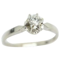 14ct White Gold 0.15 Ct Solitaire Diamond Engagement Ring, Size P