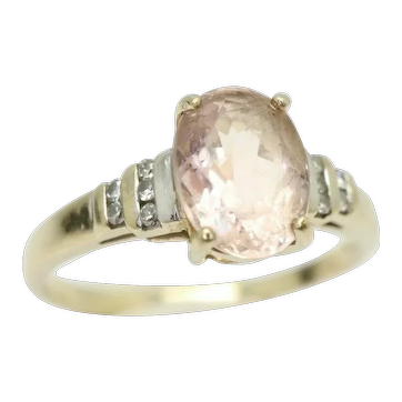 9Ct Gold 1.2Ct Morganite & Diamond Accent Dress Ring, Size N 1/2