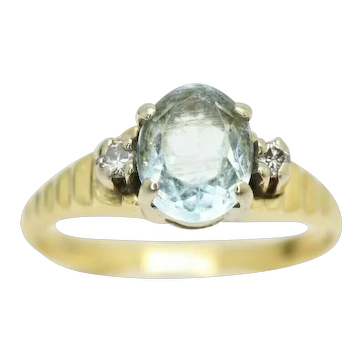 Vintage 18Ct Gold Aquamarine and Diamond Accent Anniversary Ring, Size G 1/2