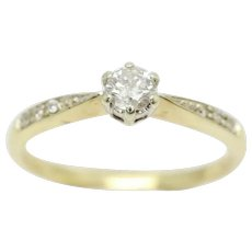 9ct Gold 0.2 Ct Solitaire Diamond With Accents Engagement Ring, Size O 1/2