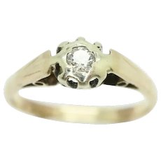 Vintage 18Ct Yellow Gold 0.1 Ct Solitaire Diamond Engagement Ring, Size L 1/2