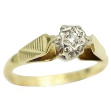 Vintage 18Ct Yellow Gold Solitaire Diamond Engagement Ring, Size J