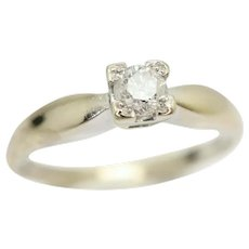 18ct White Gold 0.15 Ct Solitaire Diamond Engagement Ring, Size P