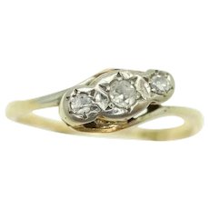 Vintage 18Ct Gold Platinum Diamond Trilogy Crossover Bypass Ring, Size L 1/2