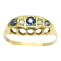 Antique 18ct Gold Sapphire & Diamond Five Stone Ring, Size O
