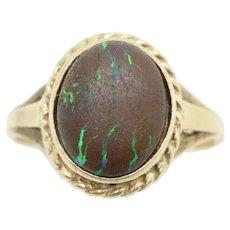 Vintage 9ct Gold 2.8 Ct Australian Matrix Boulder Opal Ring, Size P