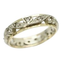 Vintage 9ct Gold Full Eternity Spinel Ring In White and Yellow Gold Size M 1/2