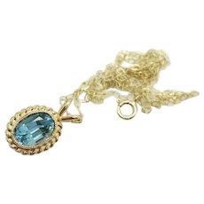 Vintage 9Ct Yellow Gold 1Ct Blue Topaz Pendant 15'' Chain Necklace