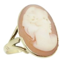 Vintage 1985 Ladies 9ct Yellow Gold Large Cameo Dress Ring, Size R