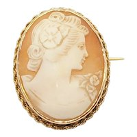 Vintage Large Ladies 9ct Yellow Gold Cameo Pin Brooch, 8.8g