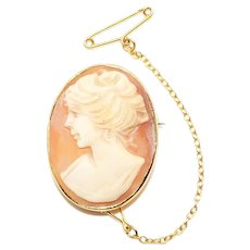 Vintage Ladies 9ct Yellow Gold Cameo Pin Brooch, 4g