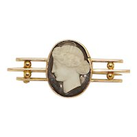 Rare Antique 1900 Charles Horner 9Ct Gold & Glass Cameo Bar Pin Brooch