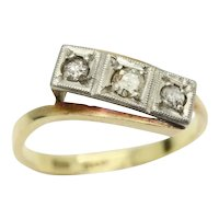 Art Deco 18ct Gold Platinum Three Stone Diamond Bypass Ring, Size P, 2.9g