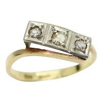 Art Deco 18ct Gold Platinum Three Stone Diamond Bypass Ring, Size P, 2.9g