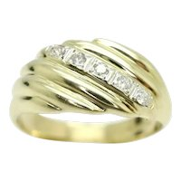 Vintage Heavy 9Ct Gold Ribbed 5 Stone Diamond Signet Ring, Size Q, 5.2g
