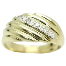 Vintage Heavy 9Ct Gold Ribbed 5 Stone Diamond Signet Ring, Size Q, 5.2g