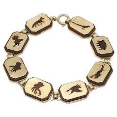 Rare Vintage Victor Mayer 935 Silver & Wood Animal Panels Bracelet
