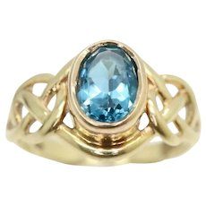 Vintage 9ct Rose & Yellow Gold 1.2 Ct London Blue Topaz Celtic Ring, Size M 1/2