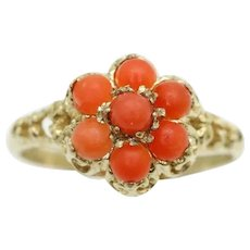 Vintage 1978 9Ct Gold Red Coral Flower Cluster Ring, Size M