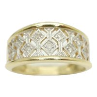 Superb 14ct Gold Filigree Lace Diamond Set Band Ring, Size K 1/2