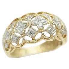 Superb Eastern 14ct Gold Filigree Lace Diamond Set Band Ring, Size N