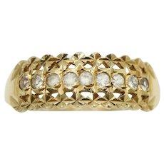 Vintage 9Ct Gold Diamond Cut Spinel Set Half Eternity Ring, Size L 1/2