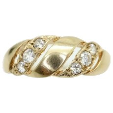 Vintage 9Ct Gold Cubic Zirconia Twisted Design Band Ring, Size K