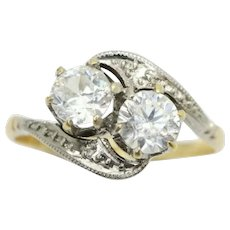 Art Deco 18Ct Gold Platinum Two Stone Spinel Crossover Bypass Ring, Size Q
