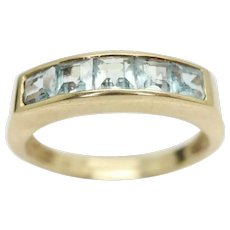 Vintage 9Ct Gold Princess Cut 5 Stone Aquamarine Band Ring, Size M
