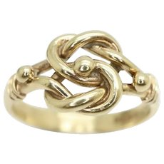 Vintage 1978 Unisex 9Ct Gold Lovers Double Knot Ring, Size L