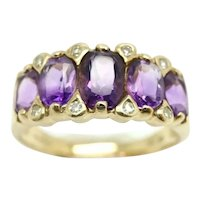 Fabulous Vintage 9ct Gold 5 Stone Amethyst Diamond Accent Boat Ring, Size N