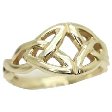 Vintage 9ct Yellow Gold Woven Celtic Knot Ring, Size K